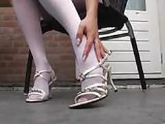 Beautiful blonde in white Pantyhose