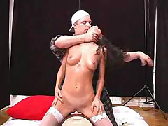 Daniella has orgasm with machine and guy fucking her ass