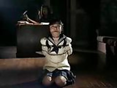 Tied Asian uniform girl