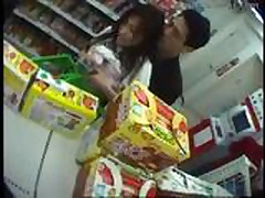 Asian sex in a crowded store