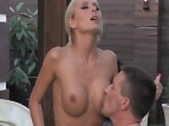 Blonde Maddy fucks and sucks poolside while he watches