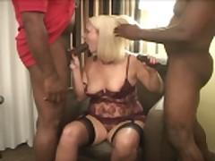 blonde wife enjoys two black gentleman
