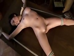 Submissive tied by her mistress and taking toy
