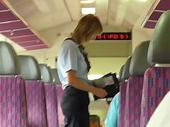 Beautiful teen striptease in the train