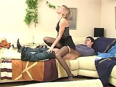 Blonde MILF in Black Stockings