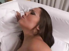 Petite brunette beauty with tight ass fucks cock