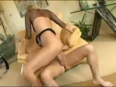 Horny Julia Ann has big cock inside her