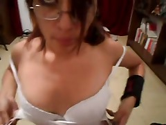 Blowjob from pretty girlfriend in glasses