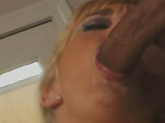 Two throbbing cocks for busty blonde temptress