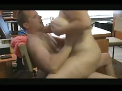 Chunky chick fucking in the office