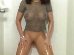 Pussy masturbation in bathroom