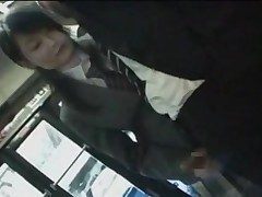 Schoolgirl public handjob