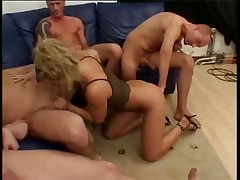 Dirty German Blonde gets gangbanged