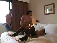 Hot French brunettes Nadia and Tasia foursome