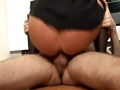 Horny milf in stockings has kitchen sex