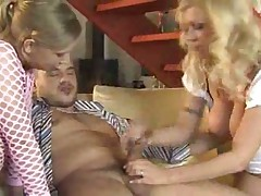 Teen and sexy milf treat his cock well