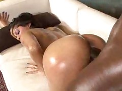 Slut with a slick oiled up body laid