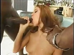 Petite blonde in stockings tames two black cocks
