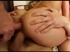 Three cocks dump loads in her mouth