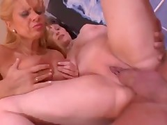 Milfs with arousing big tits share young cock