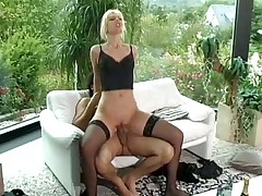 Cute blonde banged in DP in the lovely house