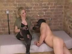 Her slave licks femdom pussy