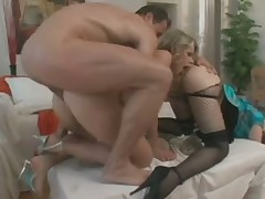 Kinky duo in stockings anal banged in threesome