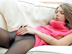 Sweater dress and pantyhose striptease