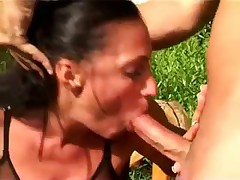 Pierced pussied milf handled rough outdoors