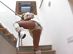 Cumming down the stairs