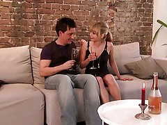 Romantic couple on a couch
