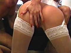 Arousing threesome with both chicks fucked