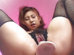 Japanese babe dildo riding in front of your eyes