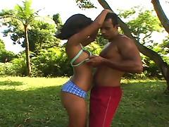 Sexy boxing girl fucking outdoor