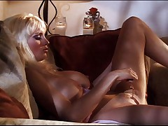 Busty blonde dildoing with sexy slut