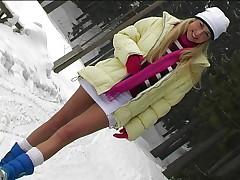 Hot blonde strips in deep winter