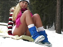 Hot blonde strips in deep winter
