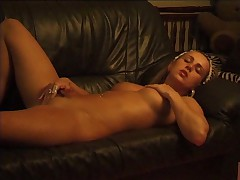 Pussy pounded with crystal dildo