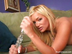 Glamour blonde playing with dildo