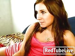 Lovely brunette stroking her pussy
