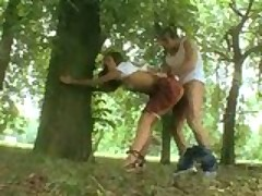 Schoolgirl Lucie Theodorova gets fucked in the park