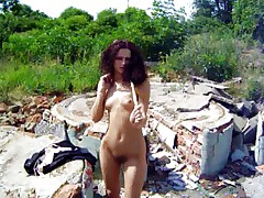 Andrea stripping outdoor