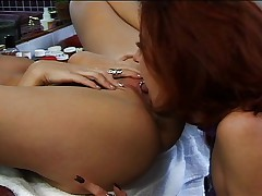 Naughty girl and her friends on sex party