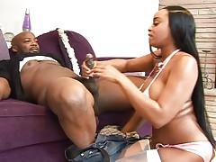 Ebony girl gets fucked hard