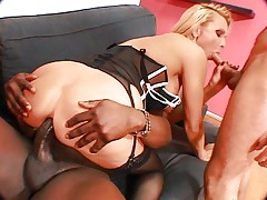 Horny blonde gets all holes penetrated