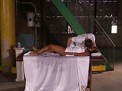 Massaging black babe Leilani Leeane