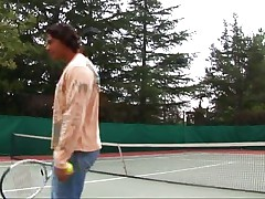 On the tennis court with two hotties