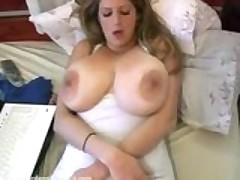 Flaunting Her Massive Milk Resevoirs