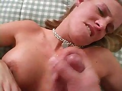 Blonde strokes cock then gets sticky facial