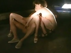 2 chick fuck outside the car